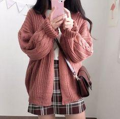 Korean fashion - white top, plaid skirt, chunky pink cardigan