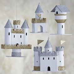 Paper Castle Ornaments - Designed by Ann Wood Toilet Roll Craft, Toilet Paper Roll Crafts, Paper Crafts, Cardboard Crafts Kids, Cardboard Toys, Christmas Tree Ornaments, Christmas Crafts, Diy For Kids, Crafts For Kids