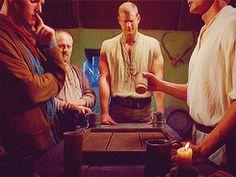 GIF set of the last happy scene in Merlin.