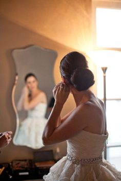 style me pretty - real wedding - usa - california - los angeles wedding - vibiana - bride - getting ready - mirror