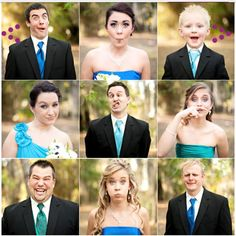 (MUST HAVE) Brady Bunch like photo grouping - funny faces or looking at each other. With Bride and Groom in the middle