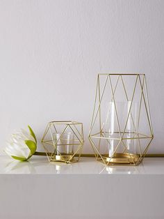 Geometric Gold Candle Holder (Large) - Bent ChairCandleware, Decor