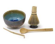 Vireo Bloom Matcha Green Tea Ceremony Set - Includes- 450ml Bowl (Chawan), Whisk (Chasen), Stand (Naoshi), Scoop (Chashaku), Bamboo Spoon - Matcha Gift Set Tools - Traditional Japanese Utensils Kit