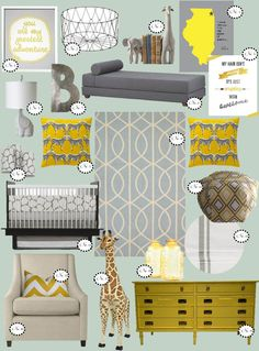 nursery inspiration, yellow & grey nursery