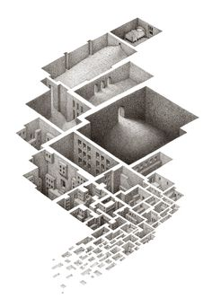 """Exploring a Hypnogogic City"", 2003  drawings by mathew borrett.  Amazing!"