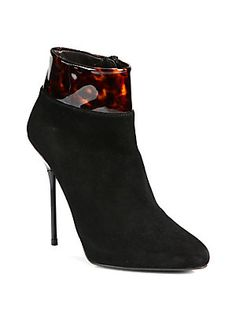 2d6a57a5651b Close Call Patent-Trimmed Suede Ankle Boots