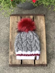 a86db8d4584 Braided Cable Beanie Fitted Sock Monkey Ruby Red Faux Fur Pom Pom –  KitchenKlutter