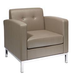 Wall Street Smoke (Grey) Faux Leather Arm Chair