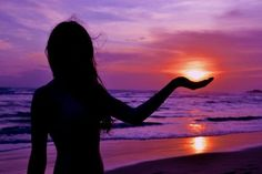 Perfect timing... (sunsets,pretty,colorful,girl,photography,ocean,purple)