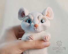 Poseable Evil White Mouse Baby OOAK Art Doll Mixed by Ermellin