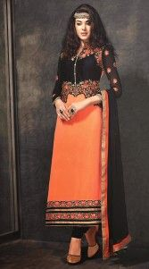 Exclusive orange georgette designer salwar kameez which is adorned with a resham embroidery work on the yoke, sleeves and lower part, lace work on the border. Contrast black bottom and dupatta attached with this attire.This Salwar Kameez can be stitched in the maximum bust size of 44 inches...