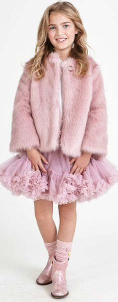 ANGEL'S FACE Girls Pink Fur Jacket Pink Tutu Skirt. Girls will be cosy, warm and fabulous in this synthetic fur jacket by Angel's Face. Complete look with the Pink Tulle Skirt. Perfect vintage style party coat