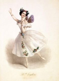 old postcard with drawn image of Mademoiselle Taglioni as The Sylphide .