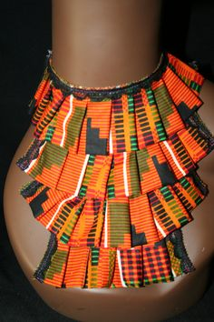 African FABRIC BIB NECKLACE /kente /wedding / by Illusionsofafrica, $23.99