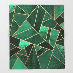 Throw Blanket featuring Emerald And Copper by Elisabeth Fredriksson