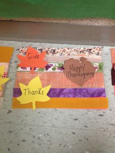 Thanksgiving placemats! Use a variety of ribbons and paste to construction paper. Decorate with leaves and a turkey.