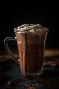 Melted Hot Chocolate with Sea Salt Whipped Cream #chocolates #sweet #yummy #delicious #food #chocolaterecipes #choco #chocolate