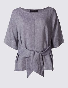 Linen Rich Tie Front Half Sleeve Shell Top in chambray blue | M&S £25, linen/ viscose mix, up to sz 24
