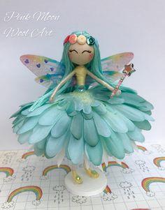 Blue Flower Fairy Doll Miniature Fairy Ornament Fairy Cake