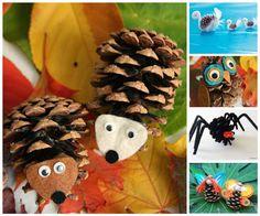5 manualidades infantiles con piñas. Os traemos una selección de manualidades infantiles con piñas: cisnes, búhos, puercoespines, araña y hadas.