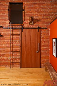 CFT-202 SERIES CFT-202-BP Sliding Door Kit (old style hangers) is used here in a Schoolhouse converted loft in Hamilton, Ontario