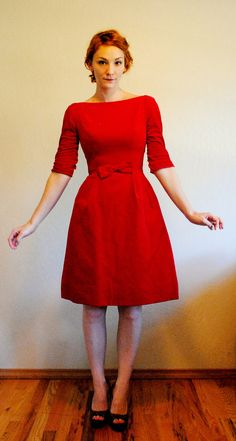 Cutest Party Dress Ever. Red Velvet Holiday Dress. 3/4 Sleeve. Boatneck. Bow. Early 60s late 50s. XS to Small. $120.00, via Etsy.