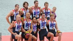 Rowing: GB men's eight celebrating Olympic bronze medal at London 2012 :)