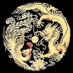 Golden Dragon & Phoenix #Beautiful #Handmade #Silk #Embroidery #Art 34013  http://www.queensilkart.com/100-handmade-embroidery-feng-shui-framed-wildlife-animal-dragon-phoenix-34013 In Feng Shui, phoenixes & dragons are perfect yin yang, the most harmonious & balanced state of Chi, promoting peaceful communication between men & women. The circular nature of the design symbolizes endless positive energy. The color gold attracts wealth, red attracts luck & the touch of white attracts family…