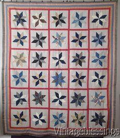 "Excellent! ANTIQUE c1880s Stars QUILT TOP 81"" x 70"" Handpieced Beautiful Fabrics www.Vintageblessings.com"