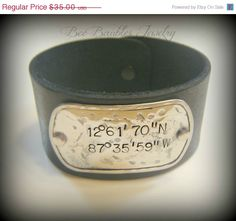 The latitude and longitude from standing under the bridge in Kelseyville <3 Hey, I found this really awesome Etsy listing at http://www.etsy.com/listing/123951296/on-sale-leather-hand-stamped-bracelet