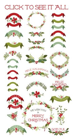 Sweet hand drawn Christmas wreath, blooms, leaves and ribbons add just the right festive touch to your family Christmas cards, invitations, or use Diy Holiday Cards, Printable Christmas Cards, Family Christmas Cards, Homemade Christmas Cards, Christmas Scrapbook, Vintage Christmas Cards, Christmas Colors, Christmas Art, Xmas
