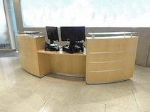 Used maple reception desk and lots of other goodies from this client. Great prices too! Used Reception Desk, Reception Areas, Second Hand Desks, Used Office Furniture, Two Hands, Goodies, Sweet Like Candy, Good Stocking Stuffers