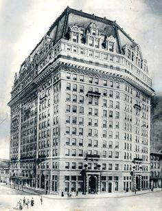 Architectural rendering of the Pontchartrain Hotel, previously located on Campus Martius Park in Detroit, Mi