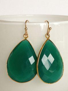 Natural Green Onyx Bezel Set Gemstone by WhiteOrchidJewelry, $49.00