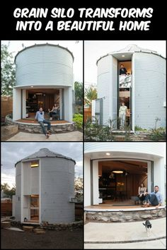 This stunning home used to be a grain silo. Take a look and you'll be amazed Tin. - This stunning home used to be a grain silo. Take a look and you'll be amazed Tiny House Design am - Home Design, Cabin Design, Tiny House Design, Halle, Silo House, Farm House, Gypsy Home, Grain Silo, Container House Design