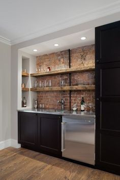Rustic home bar home bar rustic with floating shelves sub zero undercounter reclaimed wood shelves
