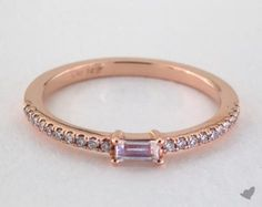 14K Rose Gold Moonstone Baguette and Diamond Ring (June). This ring can be the perfect accent to an engagement ring, or can be paired with other stackable rings. | Style # 15128R14 on JamesAllen.com. Click to see this in 360° HD!
