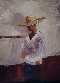 abstract figurative, oil painting, impressionism, shelby mcquilkin, wide-brimmed hat, contemporary artwork, expressive,
