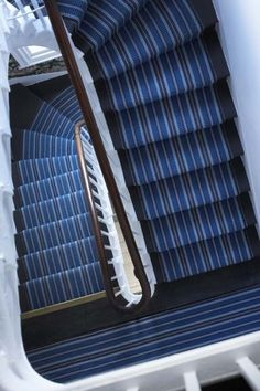 """Roger Oates' gorgeous """"Masai"""" in Indigo. Having this installed on our main stair and floor hallway. Striped Carpet Stairs, Striped Carpets, Navy Stair Runner, Stair Runners, Basement Steps, Hallway Decorating, Carpet Runner, Indigo, Flooring Ideas"""