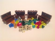 Lego Treasure Chests, Money, Coins, Crystals, Gems #LEGO