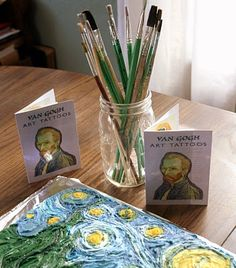 Van Gogh party with Starry Night Cake and Van Gogh tattoos, as well as pin-the-e. Van Gogh party with Starry Night Cake and Van Gogh tattoos, as well as pin-the-ear-on-Van-Gogh Source by Artist Birthday Party, Birthday Ideas, Van Gogh For Kids, Starry Night Prom, Kids Art Party, Van Gogh Tattoo, Van Gogh Art, Art Therapy Activities, Star Decorations