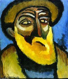 Tête d un vieillard à barbe, huile sur panneau de Alexej Georgewitsch Von Jawlensky (1864-1941, Russia)