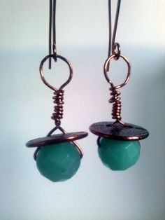 ARTISAN HANDWORKED Copper Earrings wire wrapped with por magyartist