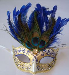 Peacock Feathered Mask Masquerade Venetian Prom Ball Fancy Dress Blue