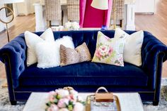 You know I love a good blue velvet sofa! Living Room Lust | Rachel Parcell