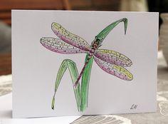Grüße - Grusskarte -Libelle- - ein Designerstück von LiRaBellus bei DaWanda