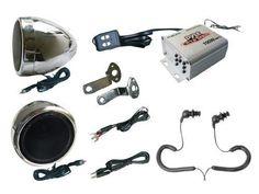 "Complete Pyle Weatherproof Mp3/ipod Speaker Kit for Motorcycle, Motorbike, Atv, Scooter, Boat, Snowmobile - 100w Amplifier + 3"" Speakers + Fm Radio + Dual Handlebar Mount + Pair of Pyle Marine Headphones/Earbuds, by GSI, http://www.amazon.com/dp/B0035XTPI2/ref=cm_sw_r_pi_dp_LjUhrb09JWGXA"