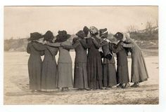 Vintage RPPC Group of Ladies in Long Coats Hats Winter Arms Around Each Other