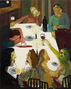 Nicole Eisenman, Winter Solstice 2012 Dinner Party. , Oil on canvas, 20 x 16 in (50.8 x 40.6 cm), 2009