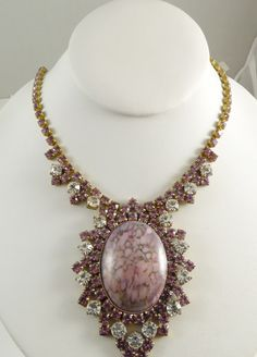 Husar D Czech Glass Pink Statement Necklace, Unique vintage, antique costume, estate jewelry